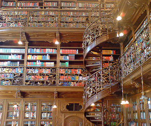 library, book, and staircase image