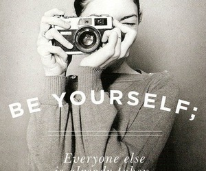 be yourself, black, and text image