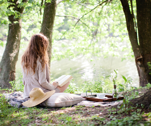 book, reading, and nature image