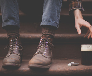 boots, brown, and guy image