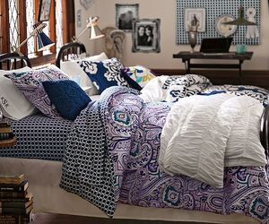 bed, dorm, and pillows image