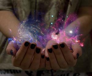 galaxy, magic, and hands image