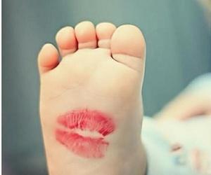 baby, kiss, and feet image