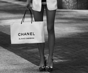 chanel, legs, and black and white image