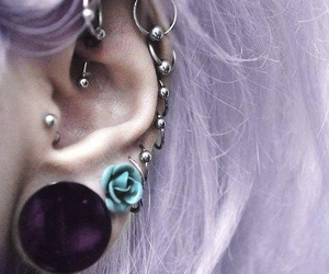 piercing, hair, and ear image