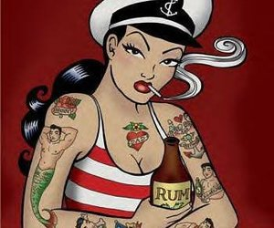 50s, Tattoos, and art image