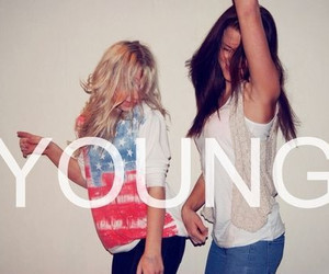 young, girl, and friends image