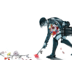anime, flowers, and levi image