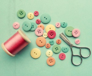 buttons, pastel, and scissors image