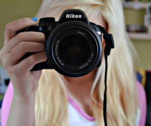 nikon, girl, and camera image