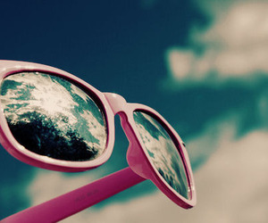 pink, sky, and sunglasses image