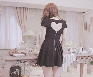 girl, dress, and heart image