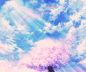 sky, anime, and sakura image