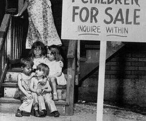 child, sale, and black and white image