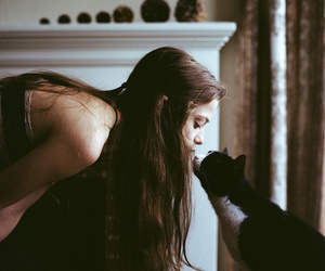 cat, girl, and indie image