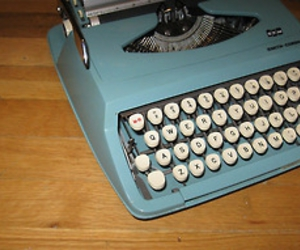 blue, typewriter, and vintage image