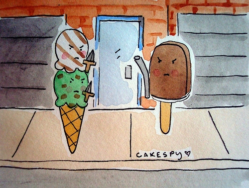 art, fight, and ice cream image