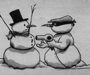 black and white, funny, and nieve image