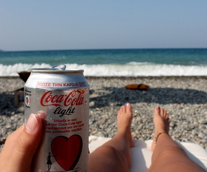 beach, coke, and cold image