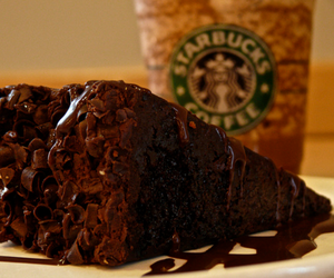 chocolate, cake, and starbucks image