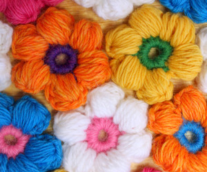 blue, crochet, and flowers image