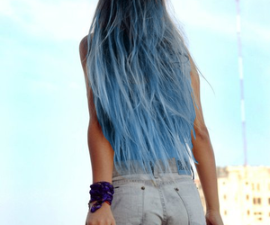 blue hair, long hair, and Modeling image