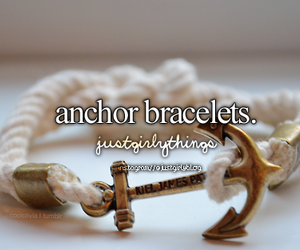 anchor, bracelet, and just girly things image