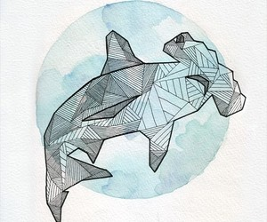 draw, geometric, and shark image