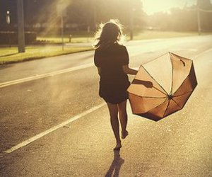 girl, umbrella, and sun image
