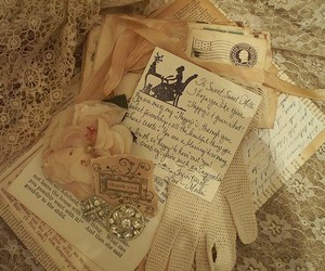 vintage, letters, and gloves image