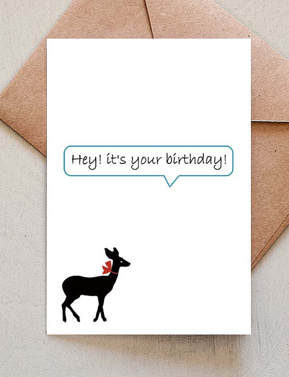 Happy birthday card with a deer by hamutelet on etsy bookmarktalkfo Image collections