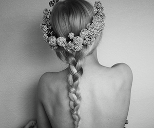 flowers, black and white, and braid image
