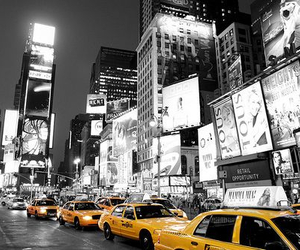 new york, taxi, and city image