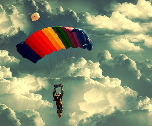 colors, parachute, and sky image