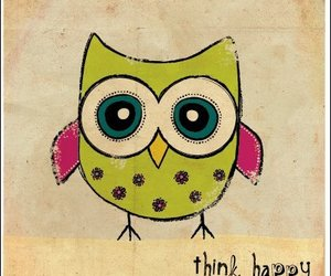 happy, owl, and think image