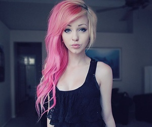 blonde, pink, and scene image