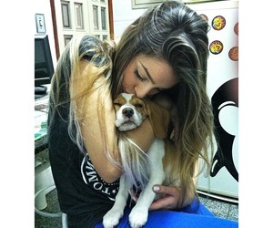 girl, cute, and dog image