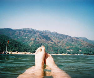 feet, water, and hipster image