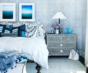 bedroom, blue, and design image