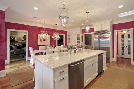 Kitchens Hundi Lantern Pink Kitchen White Chandelier Marble Countertops Double Dual Dishwashers Sisal Runners Magenta Walls Sophisticated