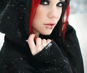 girl, piercing, and black image