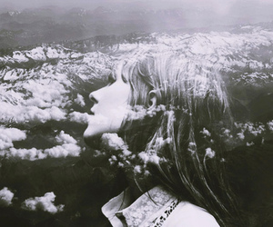 girl, black and white, and clouds image