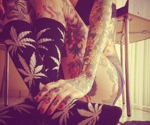 tattoo girl, weed soks, and cute ^ ^ image