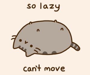cat, Lazy, and pusheen image