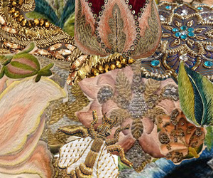 beautiful, embroidery, and pearl image