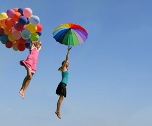 balloons, girl, and colours image