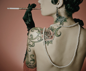 cigarette, pearls, and Pin Up image