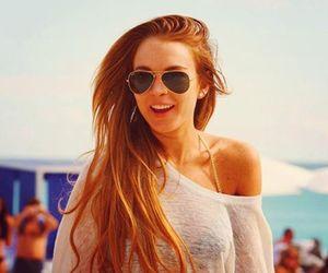 lindsay lohan, hair, and beach image