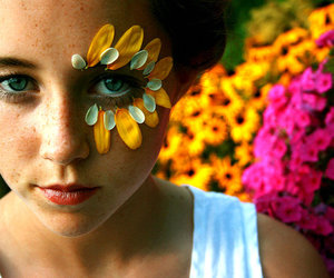 blue eyes, flower, and flowers image