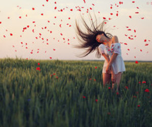 girl, red, and nature image